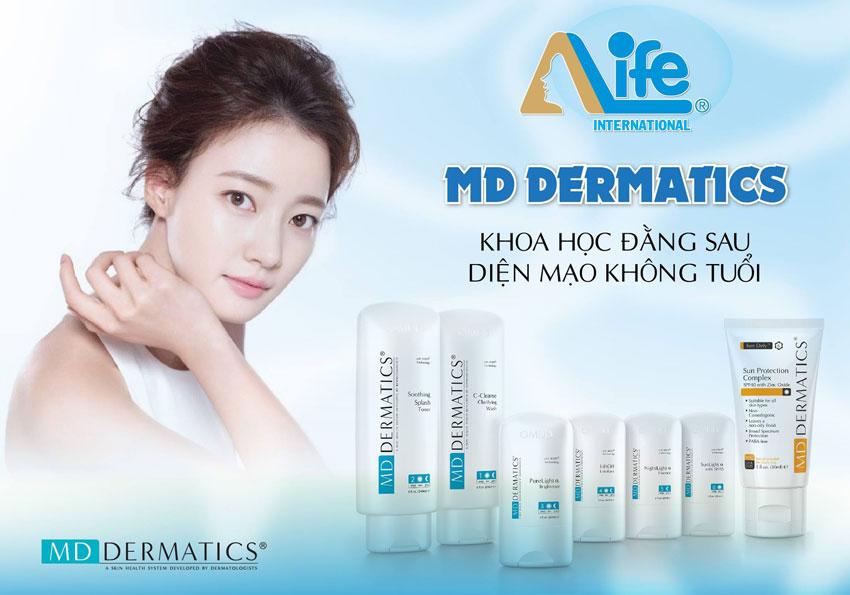 Làn da đẹp khi dùng bộ mỹ phẩm md dermatics
