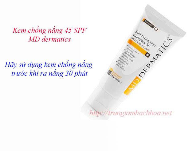 Kem chống nắng 45 SPF của MD dermatics