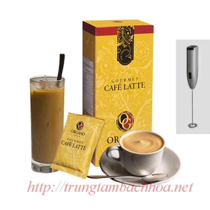 Ly cà phê latte và dụng cụ pha chế