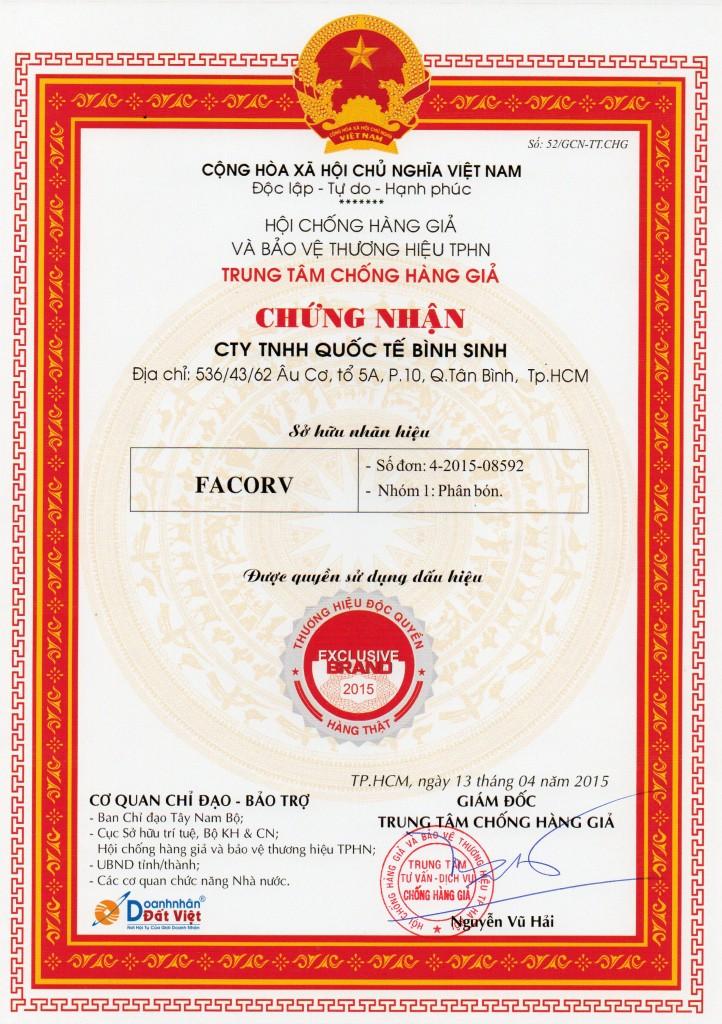 giấy chứng nhận phân bón facorv