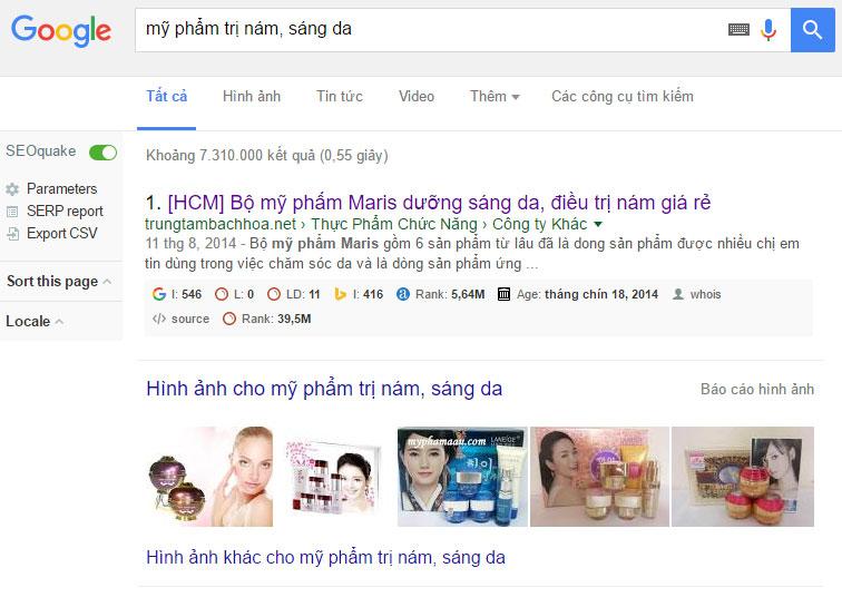 Mỹ phẩm trị nám, sáng da trên google