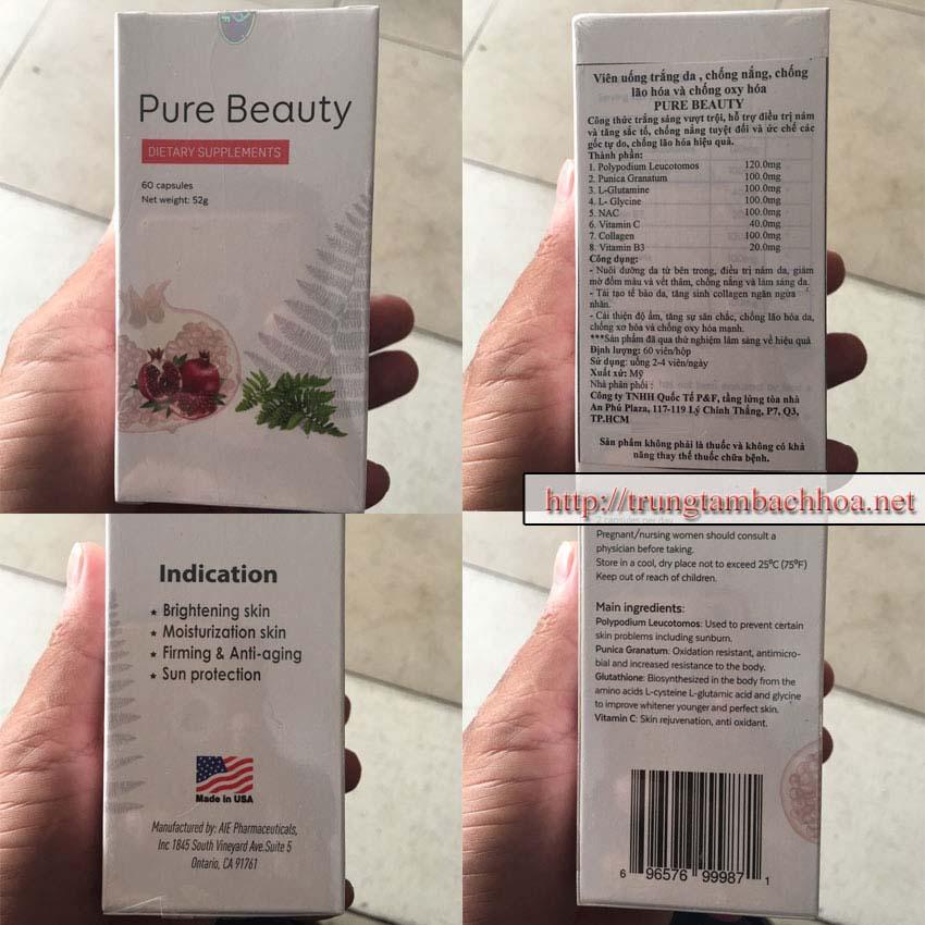 4 mặt của hộp sản phẩm pure beauty trang da va chống nắng